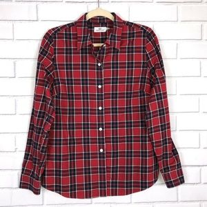 Vineyard Vines Red Plaid Fitted Shirt Sz 10 Button